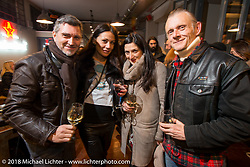Mark Wilsmore of the Ace Cafe with friends at the Mr. Martini Friday night party celebrating the opening of his bar / restaurant at the workshop during the Motor Bike Expo. Verona, Italy. January 22, 2016.  Photography ©2016 Michael Lichter.
