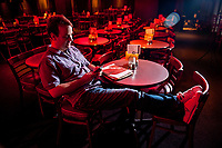Washington, DC -- Mike Birbiglia, looking over his notes for his stand up comedy act at the DC Improv comedy club, turned a popular standup comedy routine about his own bout with sleepwalking into a one-man off-Broadway show and now the movie Sleepwalk With Me, which he stars in and directs.  Photo by Jack Gruber, USA TODAY