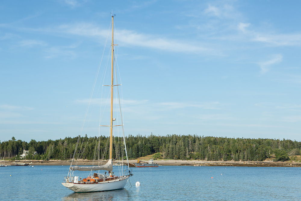 Southwest Harbor, ME - 12 August 2014. Sloop Isla on a mooring off Clarks Point.