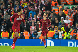 LIVERPOOL, ENGLAND - Wednesday, March 11, 2020: Liverpool's Roberto Firmino celebrates scoring the second goal in extra-time, his first goal at Anfield during the UEFA Champions League Round of 16 2nd Leg match between Liverpool FC and Club Atlético de Madrid at Anfield. (Pic by David Rawcliffe/Propaganda)