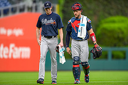 May 22, 2018 - Philadelphia, PA, U.S. - PHILADELPHIA, PA - MAY 22: Atlanta Braves starting pitcher Brandon McCarthy (32) and Atlanta Braves catcher Tyler Flowers (25) get ready to begin the game before  the MLB game between the Atlanta Braves and the Philadelphia Phillies on May 22, 2018 at Citizens Bank Park in Philadelphia PA. (Photo by Gavin Baker/Icon Sportswire) (Credit Image: © Gavin Baker/Icon SMI via ZUMA Press)
