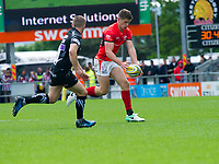 Rugby Union - 2016 / 2017 Aviva Premiership - Semi-Final: Exeter Chiefs vs. Saracens<br /> <br /> Owen Farrell, capt, of Saracens chips ahead , at Sandy Park.<br /> <br /> COLORSPORT/WINSTON BYNORTH
