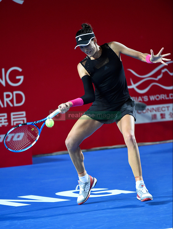 October 12, 2018 - Hong Kong, Hong Kong SAR, China - Garbiñe Muguruza wins her quarter final to move through to the semi-final in the Prudential Hong Kong Tennis Open (Credit Image: © Jayne Russell/ZUMA Wire)