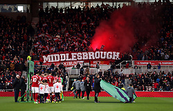 A general view of Middlesbrough fans in the stands before the game