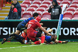 Michael Leitch of Japan scores his second try of the game<br /> <br /> Photographer Craig Thomas<br /> <br /> Japan v Russia<br /> <br /> World Copyright ©  2018 Replay images. All rights reserved. 15 Foundry Road, Risca, Newport, NP11 6AL - Tel: +44 (0) 7557115724 - craig@replayimages.co.uk - www.replayimages.co.uk