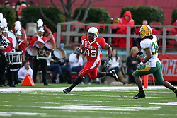 25 October 2008: Walter Mendenhall turns the corner with Cyrus Lemon in pursuit in a game which the North Dakota Bison defeated the Illinois State Redbirds at Hancock Stadium on campus of Illinois State University in Normal Illinois
