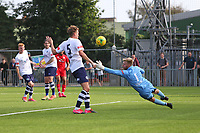 Football - 2021 / 2022 Emirates FA Cup - First Round Qualifying - Worthing vs Corinthian-Casuals - The Crucial Environment Stadium, Woodside Road - Saturday 4th September 2021<br /> <br /> Worthing's  Dayshonne Golding curls a shot at goal late on to force a fine save from Danny Bracken of Corinthian Casuals during the FA Cup First Qualifying Round  The Crucial Enviromental Stadium  <br /> <br /> COLORSPORT/SHAUN BOGGUST