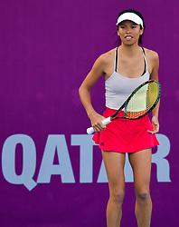 DOHA, Feb. 14, 2019  Hsieh Su-wei of Chinese Taipei reacts during the women's singles second round match between Karolina Muchova of the Czech Republic and Hsieh Su-wei of Chinese Taipei at the 2019 WTA Qatar Open in Doha, Qatar, Feb. 13, 2019. Hsieh Su-wei lost 0-2. (Credit Image: © Nikku/Xinhua via ZUMA Wire)