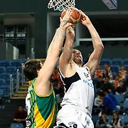 Efes Pilsen's Nikola VUJCIC (R) during their Turkish Basketball league match Efes Pilsen between Olin Edirne at the Sinan Erdem Arena in Istanbul Turkey on Friday 06 May 2011. Photo by TURKPIX