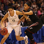 Kia Nurse, (left), UConn, drives past Bianca Quisenberry, Cincinnati, during the UConn Vs Cincinnati Quarterfinal Basketball game at the American Women's College Basketball Championships 2015 at Mohegan Sun Arena, Uncasville, Connecticut, USA. 7th March 2015. Photo Tim Clayton