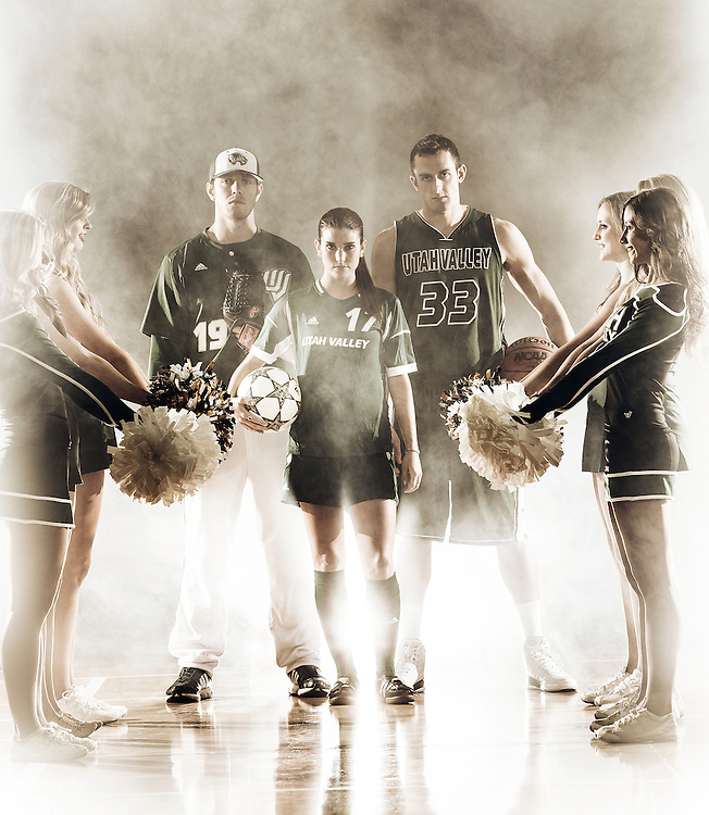 UVU student athletes and cheerleaders pose for the cover of the UVU Magazine WAC edition on the campus of Utah Valley University in Orem, Utah, Friday, Nov. 9, 2012. (August Miller)