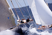 Velsheda sailing in the Cannon Race at the Antigua Classic Yacht Regatta.