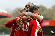 Charlton Athletic players celebrate a goal from Charlton Athletic forward Lee Novak (30) during the EFL Sky Bet League 1 match between Charlton Athletic and Chesterfield at The Valley, London, England on 29 October 2016. Photo by Andy Walter.