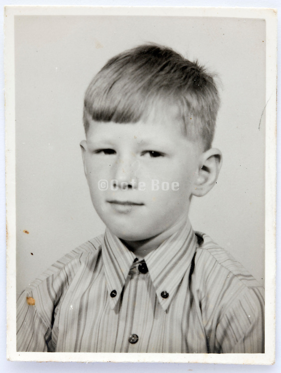 school memory photo of young boy looking at the camera