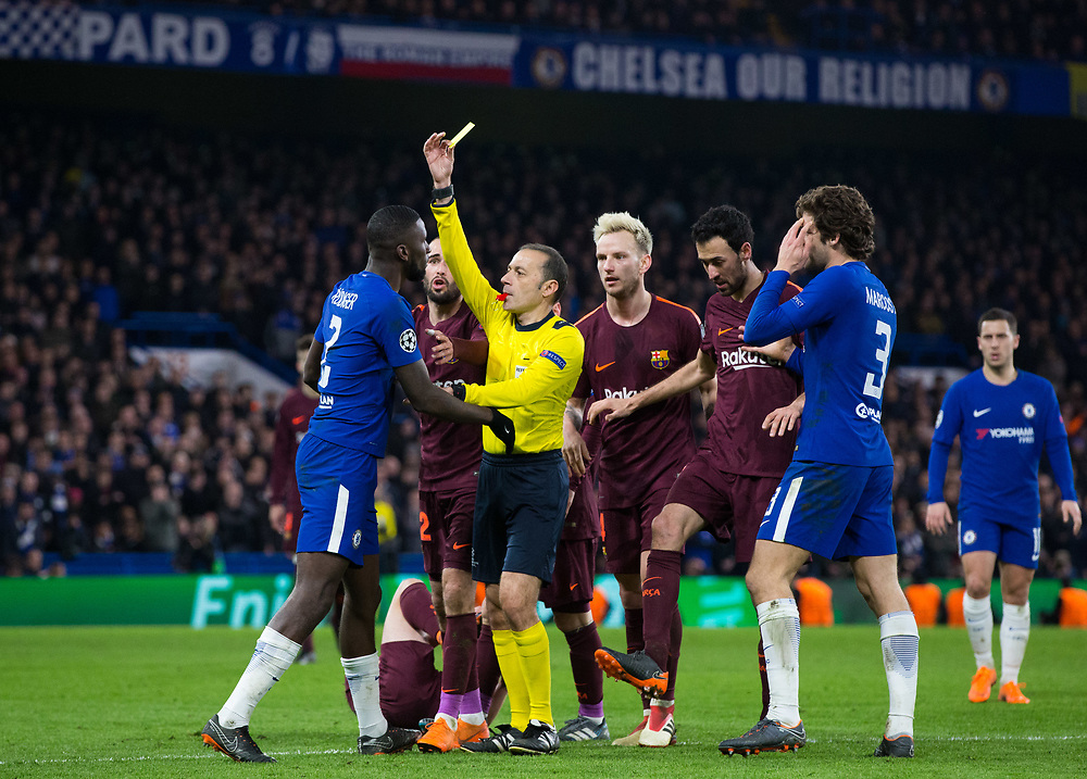 Chelsea's Antonio Rudiger gets shown a yellow card by Referee Cakir Cuneyt <br /> <br /> Photographer Craig Mercer/CameraSport<br /> <br /> UEFA Champions League Round of 16 1st Leg - Chelsea v Barcelona - Tuesday 20th February 2018 - Stamford Bridge - London<br />  <br /> World Copyright © 2017 CameraSport. All rights reserved. 43 Linden Ave. Countesthorpe. Leicester. England. LE8 5PG - Tel: +44 (0) 116 277 4147 - admin@camerasport.com - www.camerasport.com