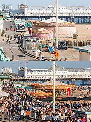 © Licensed to London News Pictures. 10/04/2020. Brighton, UK. Comparison showing an empty Brighton seafront on Good Friday today, (TOP) and the same scene on Good Friday 2019 (BOTTOM). Photo credit: Hugo Michiels/LNP