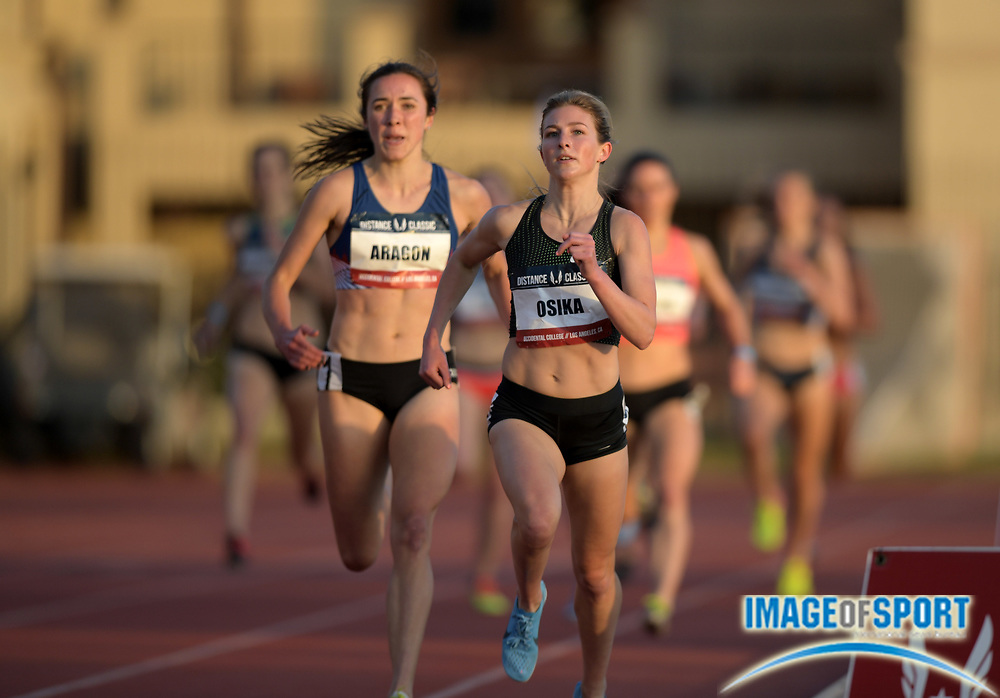 May 17, 2018; Los Angeles, CA, USA; Shannon Osika (right) and Danielle Aragon place first and second in the women's 1,500m in 4:09.38 and 4:09.57 during the USATF Distance Classic at Occidental College.