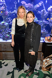 Left to right, MARTHA WARD and DAISY BATES at a dinner hosted by Creme de la Mer to celebrate the launch of Genaissance de la Mer The Serum Essence held at Sexy Fish, Berkeley Square, London on 21st January 2016.