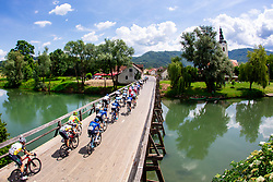 Peloton and a view of Kostanjevica na Krki during 3rd Stage of 27th Tour of Slovenia 2021 cycling race between Brezice and Krsko (165,8 km), on June 11, 2021 in Slovenia. Photo by Matic Klansek Velej / Sportida