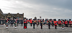 Installation of Edinburgh Castle Govenor, Edinburgh Castle, Edinburgh, Scotland, United Kingdom 23  June 2021: <br />  Installation as Governor of Edinburgh Castle: the dress rehearsal takes place for the ceremony which will be held tomorrow, two years after the handover of the position to Maj Gen Alastair Bruce of Crionaich.  The ceremony was delayed due to Covid-19. The role of Governor is a historic one, dating back to 1067. Maj Gen Bruce is also a Sky News commentator. Representative form all Scottish military regiments are involved, in a ceremony that takes a new curtailed form only within the castle due to Covid restrictions. Pictured: a photo opportunity after the ceremony.<br /> Sally Anderson | EdinburghElitemedia.co.uk