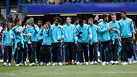 Football - 2014 / 2015 Premier League - Chelsea vs. Sunderland.   <br /> <br /> Chelsea's Academy players take a lap of honour and show the trophy's won at Stamford Bridge. <br /> <br /> COLORSPORT/DANIEL BEARHAM