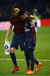 February 17, 2018 - Paris, France - Neymar Jr and Edison Cavani of Paris Saint-Germain react after the Ligue 1 match between Paris saint-Germain and Strasbourg at Parc des Princes on February 17, 2018 in Paris, France. (Credit Image: © Mehdi Taamallah/NurPhoto via ZUMA Press)