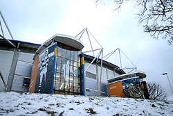 Snow outside the ground before the Betfred Super League match at the KCOM Stadium, Hull.
