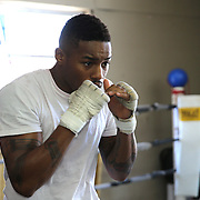"""WINTER HAVEN, FL - MAY 05: Boxer Willie Monroe Jr. shadow boxes as he works out at the Winter Haven Boxing Gym on May 5, 2015 in Winter Haven, Florida. Monroe will challenge middleweight world champion Gennady """"GGG"""" Golovkin for the WBA world championship title in Los Angeles on May 16.  (Photo by Alex Menendez/Getty Images) *** Local Caption *** Willie Monroe Jr."""