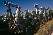 Awaiting recycling are the undercariage and landing gear  of now-retired in the arid desert, on 15th August 1998, at Davis Monthan Air Force Base, Tucson, Arizona, USA.