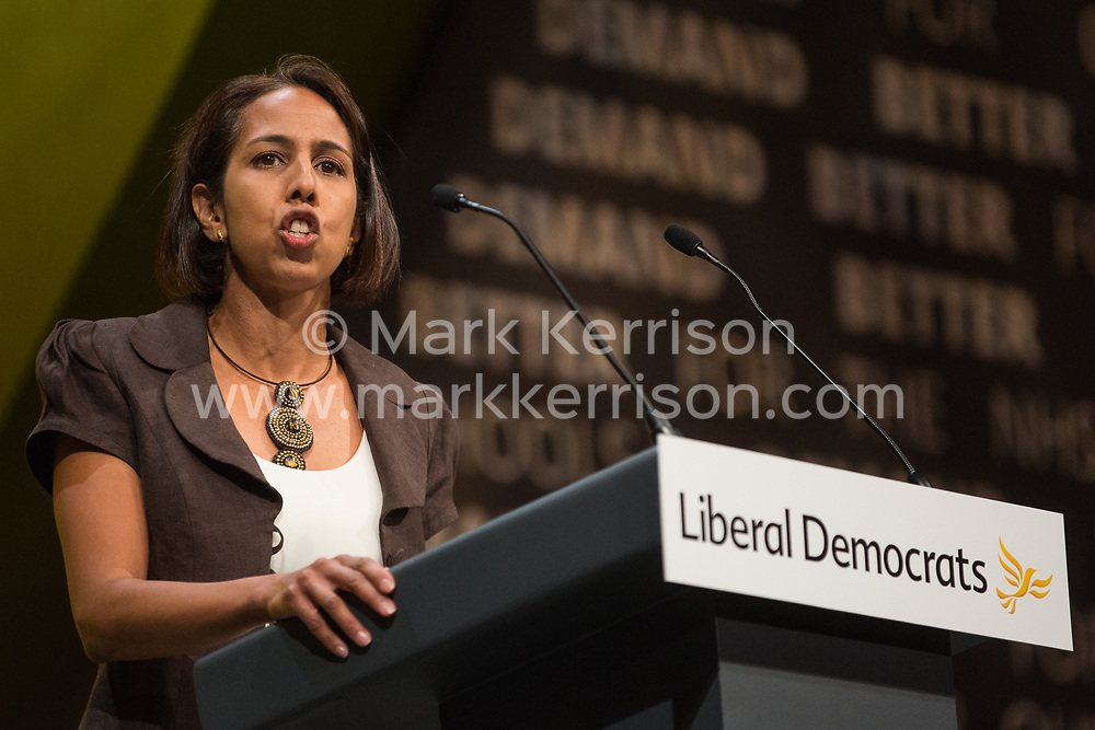 Bournemouth, UK. 15 September, 2019. Munira Wilson, Liberal Democrat PPC for Twickenham, speaks on the Stop Brexit motion during the Liberal Democrat Autumn Conference. Following a vote won by an overwhelming majority, the Liberal Democrats pledged to cancel Brexit if they win power at the next general election. This marks a shift in policy from their previous backing for a People's Vote. Credit: Mark Kerrison/Alamy Live News
