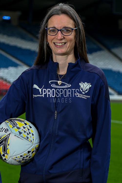 Scottish Womens Football has today agreed a new partnership with Edinburgh based Kit and Apparel Supplier Football Nation.<br /> <br /> The Partnership will see Scottish Women's Football Staff & Volunteers wearing matching kit supplied by Football Nation.<br /> <br /> Scottish Womens Football Administrator Ruth McGeoch proudly displays the new Tracksuit from FN Teamwear.<br /> <br /> 12/10/2021, The National Stadium, Hampden Park, Scotland.