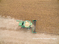 63801-09407 Soybean Harvest, John Deere combine harvesting soybeans - aerial - Marion Co. IL