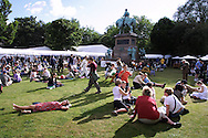 Bank-holiday crowds enjoying the sunshine on the penultimate day of the Edinburgh International Book Festival, in the city's historic New Town location...
