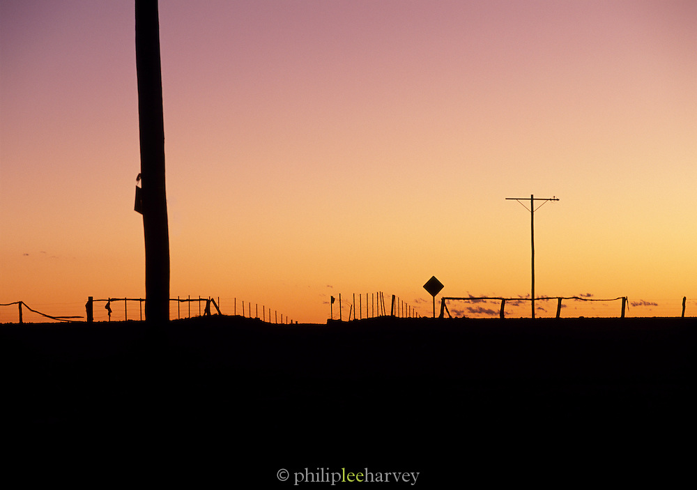 Silouhetted landscape at sunset, Broken Hill, New South Wales, Australia