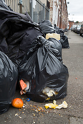 © Licensed to London News Pictures. 12/08/2016. Birmingham, UK. The strike by Birmingham bin men continues as they announce strike action up to Christmas. Pictured, rubbish building up in Tarry Road, Alum Rock. Photo credit: Dave Warren/LNP