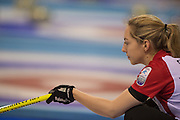 """Glasgow. SCOTLAND.  Marking the spot, to strike the """"Stone"""" during a  """"Round Robin"""" Games. Le Gruyère European Curling Championships. 2016 Venue, Braehead  Scotland<br /> Monday  21/11/2016<br /> <br /> [Mandatory Credit; Peter Spurrier/Intersport-images]"""