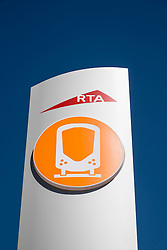 Sign at station on new Dubai Tram system in Marina district of Dubai United Arab Emirates