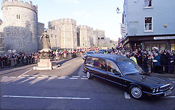 File photo dated 15/02/02 of people watching the hearse carrying the coffin of Princess Margaret. Windsor Castle has been the setting for many funerals for the British monarchy, with the Duke of Edinburgh's service to be the first in 16 years. Issue date: Friday April 16, 2021.