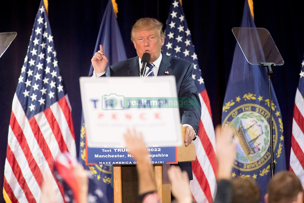 October 28, 2016 - Manchester, New Hampshire, U.S. - DONALD TRUMP, the republican candidate for president of the United States, addresses supporters during a campaign stop at the Armory Ballroom in the Radisson Hotel. Trump on Friday praised the FBI's decision to take another look into Hillary Clinton's use of a private email server when she served as secretary of state. (Credit Image: © Bryce Vickmark via ZUMA Wire)