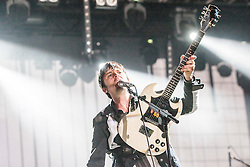 Nick McCarthy of Franz Ferdinand on stage at King Tut's Wah Wah Tent, Sunday, T in the Park 2014.<br /> © Michael Schofield.