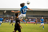 Macclesfield Town defender Miles Welch-Hayes in aerial challenge during the EFL Sky Bet League 2 match between Macclesfield Town and Mansfield Town at Moss Rose, Macclesfield, United Kingdom on 16 November 2019.