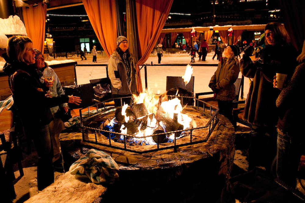 California: Firepits at skating rink at Northstar at Lake Tahoe.    Photo copyright Lee Foster.  Photo # cataho100239