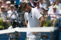 Tennis - 2017 Aegon Championships [Queen's Club Championship] - Day Three, Wednesday<br /> <br /> Men's Singles, Round of 16 -Viktor TROICKI (SRB) Vs Donald YOUNG (USA)<br /> <br /> Viktor Troicki (SRB) hangs his head after his loss at Queens Club<br /> <br /> <br /> COLORSPORT/DANIEL BEARHAM