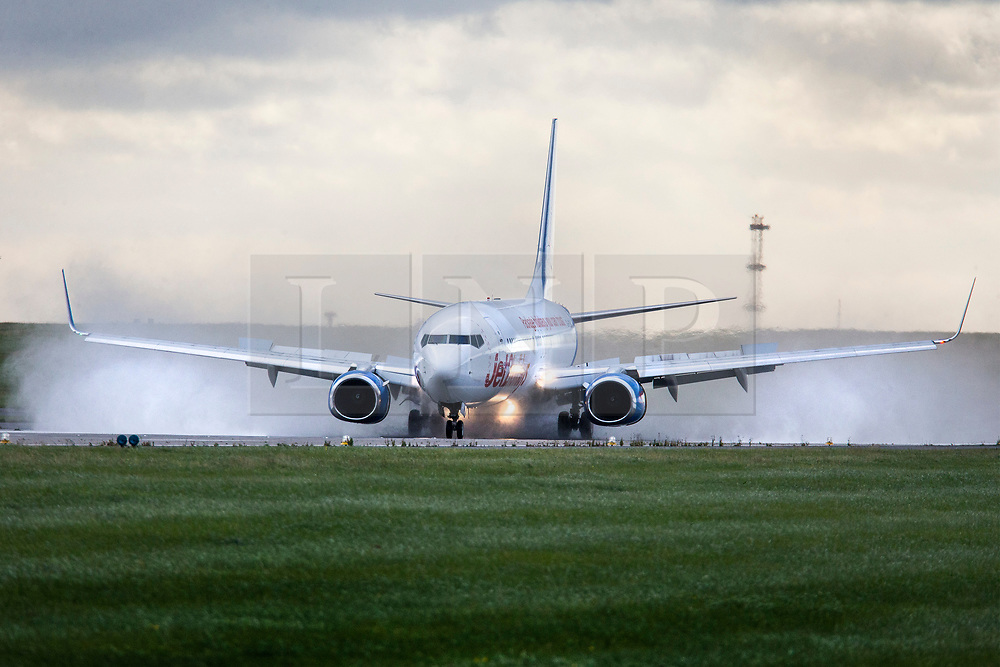 © Licensed to London News Pictures. 27/08/2020. Leeds UK. File picture taken 13/09/2017 off a Jet2 aircraft landing at Leeds Bradford airport. Leeds based airline Jet2 has cancelled all flights to the Balearic Islands for the remainder of summer, and it has extended the suspension of package holidays and flights to mainland Spain and the Canaries until September 13. Photo credit: Andrew McCaren/LNP