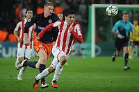 FOOTBALL - UEFA CHAMPIONS LEAGUE 2012/2013 - GROUP STAGE - GROUP B - MONTPELLIER HSC v OLYMPIACOS - 24/10/2012 - PHOTO SYLVAIN THOMAS / DPPI - GAETAN CHARBONNIER (MHSC) / PABLO CONTRERAS (OFC)