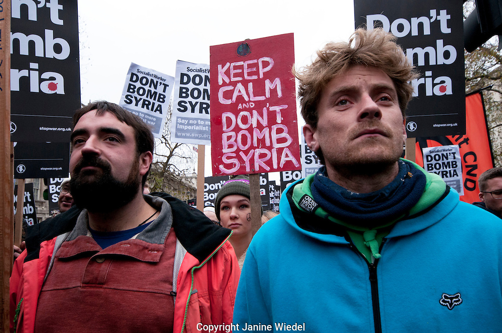 Don't Attack Syria anti-war protest and march outside Downing Street London by Stop the War Nov 28th 2015