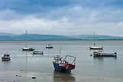 Sailing boats and fishing trawlers moored in Dyfi estuary at Aberdyfi, Aberdovey, Snowdonia, Wales