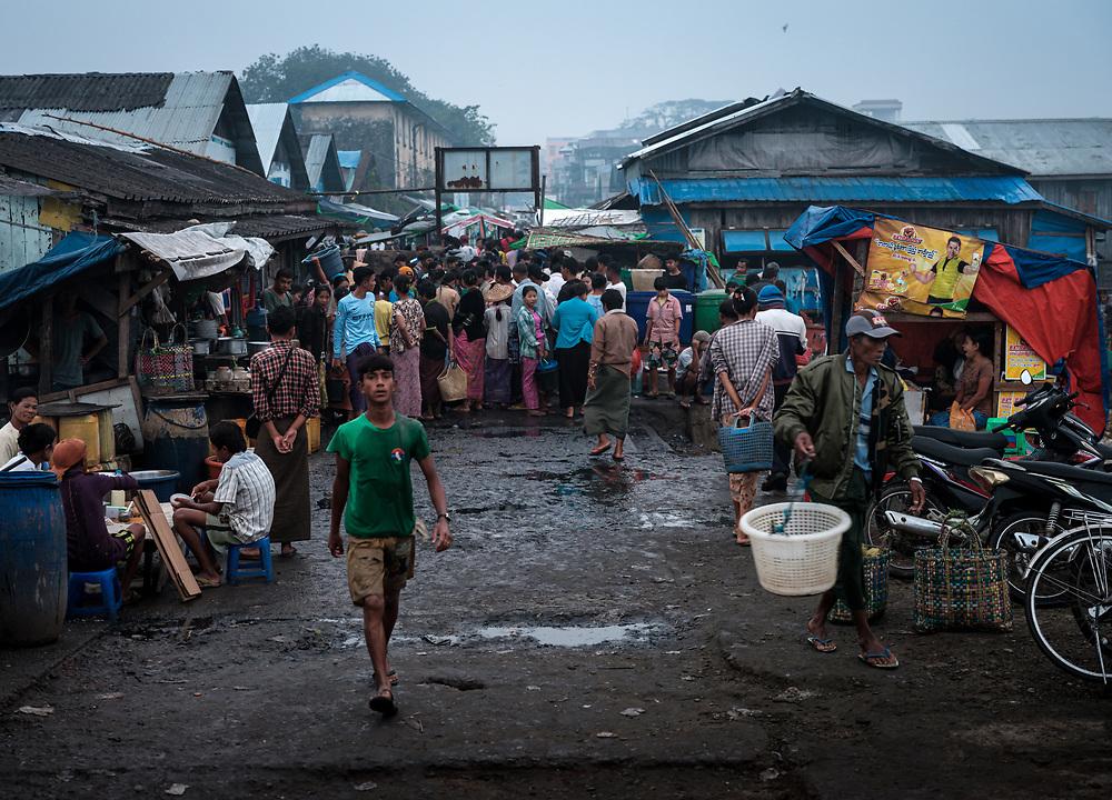 SITTWE, MYANMAR - CIRCA DECEMBER 2017:  View of the fish market of Sittwe in Myanmar.