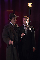"""© Licensed to London News Pictures. 15/01/2014. London, England. L-R: Peter Lloyd as Iago and Max Wilson as RoderigoThe Shakespearean tragedy """"Othello: The Moor of Venice"""" opens at the Riverside Studios in Hammersmith, London in a """"Film Noir"""" setting. Directed by Rebekah Fortune with Stefan Adegbola as Othello and Gillian Saker as Desdemona. Running form 15 January to 18 February 2014. Photo credit: Bettina Strenske/LNP"""