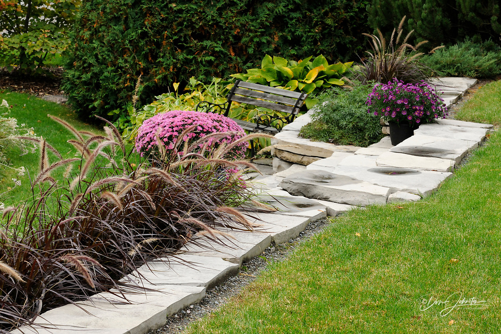 A stone wall with potted late-summer mums, Greater Sudbury, Ontario, Canada